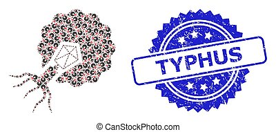 virus, rasguñado, mosaico, icono, infecting, sello, fractal, typhus, célula