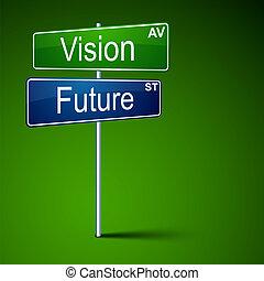 Visión futura señal de camino.