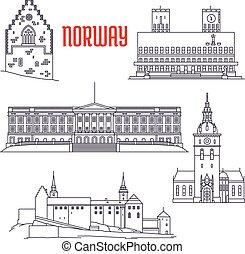 Visiones de icono de Noruega en una delgada línea de estilo