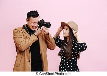 visor, cámara, him., niña, sombrero, posturas, joven, miradas, él