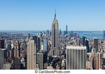 Vista aérea de Manhattan en Nueva York, Estados Unidos