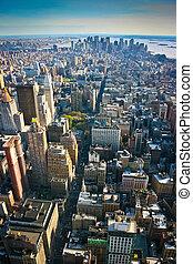 Vista aérea sobre el Manhattan inferior de Nueva York