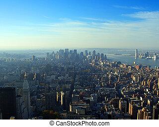Vista aérea sobre Manhattan inferior, Nueva York
