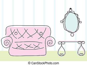 Vista a la habitación al estilo dibujo de garabatos