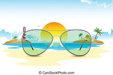 Vista al mar a través de gafas de sol