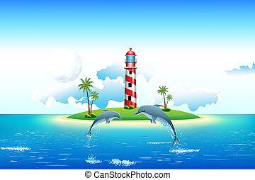 Vista al mar con delfines y faros