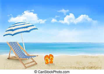 Vista al mar con un paraguas, una silla de playa y un par de chanclas. El fondo del concepto de vacaciones de verano. Vector.