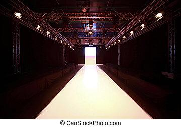 vista, antes, exhibición, brillado, frente, podio, principio, moderno