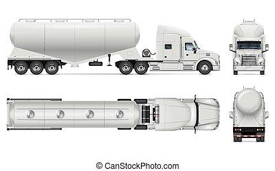 vista, bulto, cima, camión, cemento, lado, espalda, portador, vector, mockup, frente