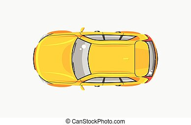 vista, coche, ventana trasera, cima