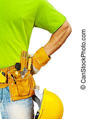 Vista de cerca a los contratistas con herramientas