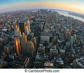 Vista de pez sobre Manhattan inferior, Nueva York