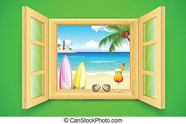 Vista de playa marina desde la ventana
