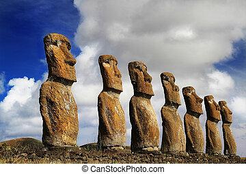 Vista de siete ahu akivi moai