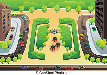 Vista de una autopista y un parque desde arriba