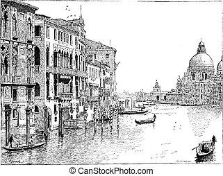 Vista del gran canal, Venecia, grabado añejo.