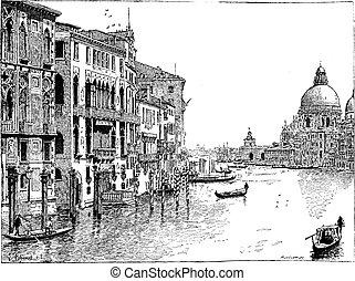 Vista del gran canal, Venecia, grabado antiguo.