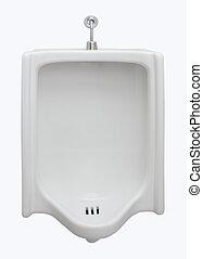 vista delantera, urinario, baño