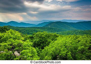 Vista desde la montaña del loft, en el parque nacional Shenandoah, Virginia.