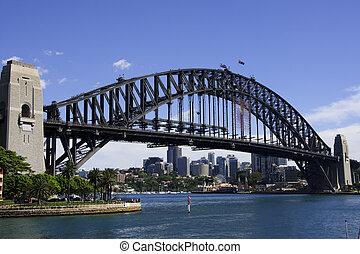 Vista diagonal en el puente de Sydney
