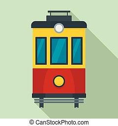 vista, estilo, frente, icono, tranvía, plano