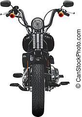 Vista frontal de motocicleta