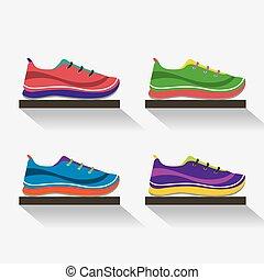 Vista lateral de correr zapatos en ilustración de vectores de estantes