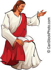 Vista lateral de Jesús sentado