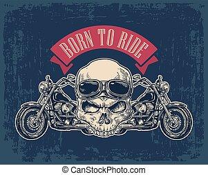 Vista lateral de motocicleta y cráneo con gafas.