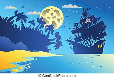 vista marina, barco, 2, pirata, noche