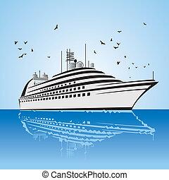 vista, muy, crucero, realista, barco