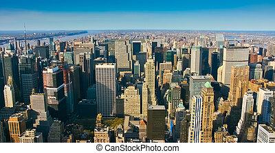 Vista panorámica aérea sobre Manhattan