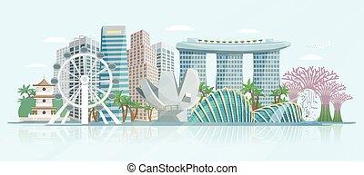 vista panorámica, contorno, plano, cartel, singapur