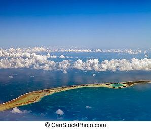 vista., por, atolón, océano, visible, aéreo, polynesia., clouds., anillo