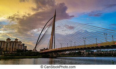vista, puente, putrajaya, ocaso
