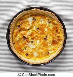 vista, queso, plano, colocar, tocino, vista., above., arriba, tela, quiche, cima, casero, cheddar, huevos