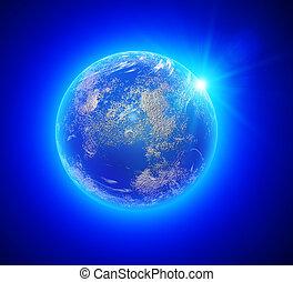 Vista terrestre desde Elementos Espaciales de esta imagen provista por la NASA