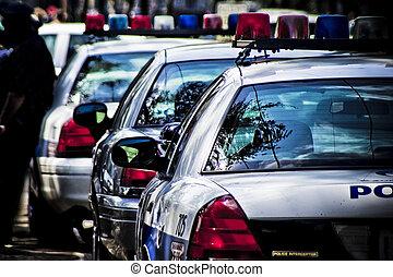 Vista trasera de los coches de policía americanos