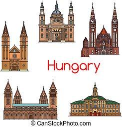 Vista turística de la línea de icono Hungría