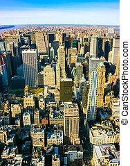 Vista vertical aérea sobre Manhattan superior