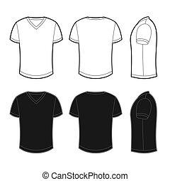 vistas, espalda, frente, camiseta, blanco, lado