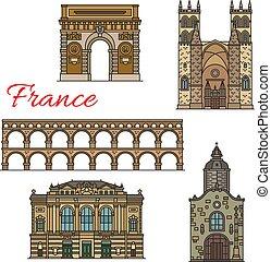 Vistas turísticas de iconos de Francia para el diseño de viajes