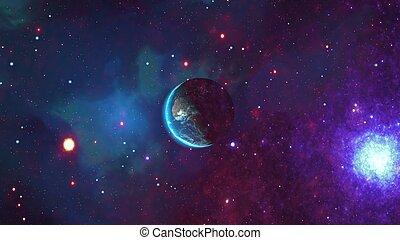 vistos, planeta, espacio, tierra