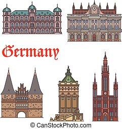 Visualización de turistas alemanes y un set de icono de monumentos