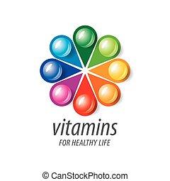 vitaminas, logotipo, vector