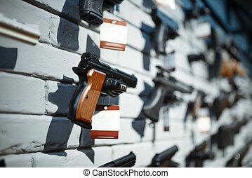 vitrina, primer plano, nadie, pistolas, tienda, arma de fuego