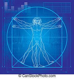 vitruvian, (blueprint, version), hombre