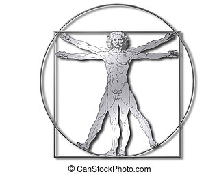 vitruvian, hombre de plata