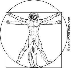 vitruvian, (outline, version), hombre