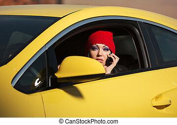 vocación, moda, mujer, conducción, célula, coche, joven, teléfono